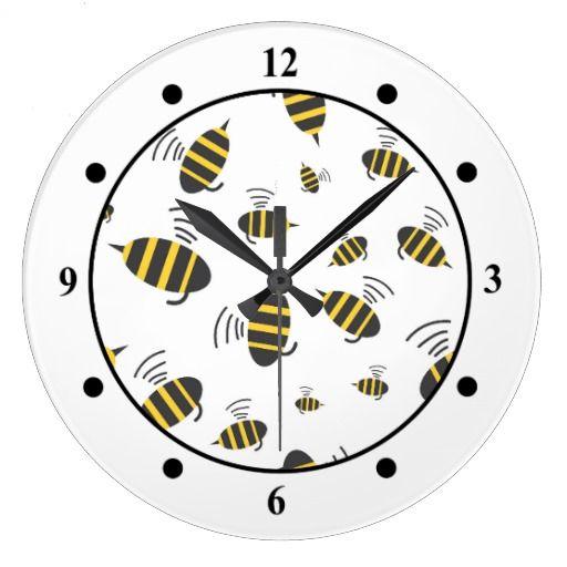 Buzzing Bumble Bee Cartoon Wallclock