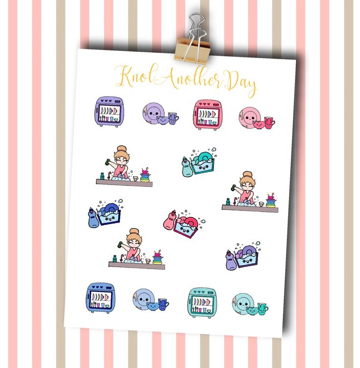 MISU Dishwashing Planner Stickers by KnotAnotherDay #dishwashing #dishes #cleaning #cute #plannersticker #kawaii