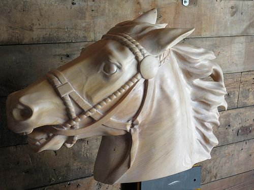 Horse carving by M.J.Y.