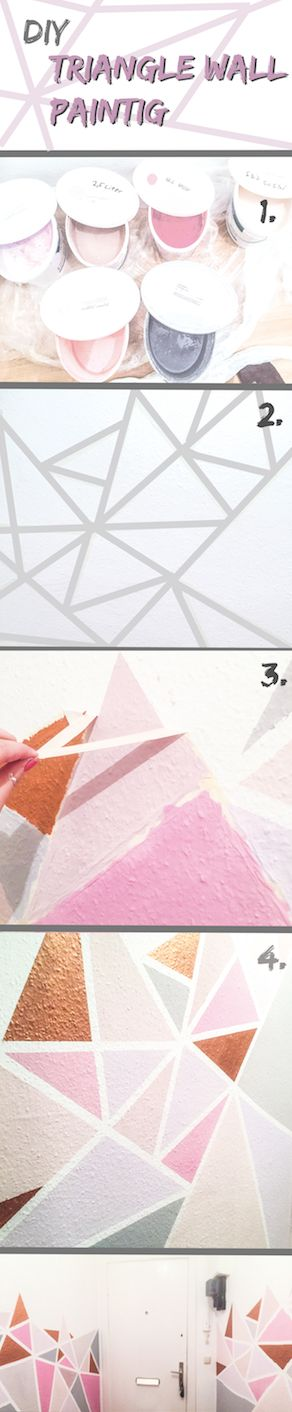DIY Triangle Wall Painting. Design. Triangle. Pattern.                                                                                                                                                     More