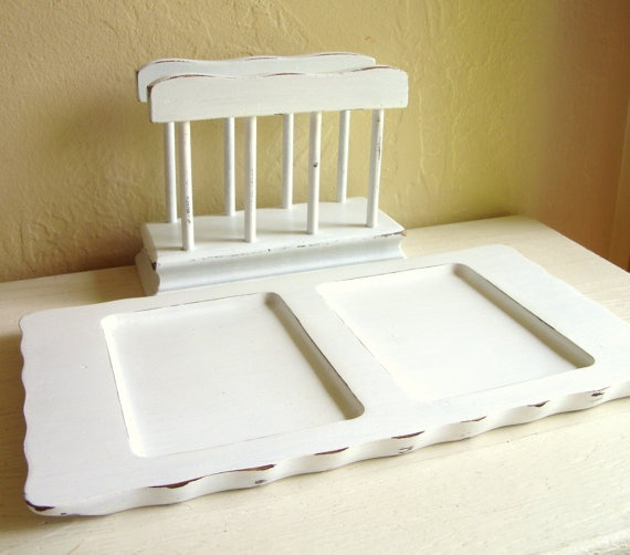 Shabby chic white wooden desk organizer set divided tray - Desk organizer white ...