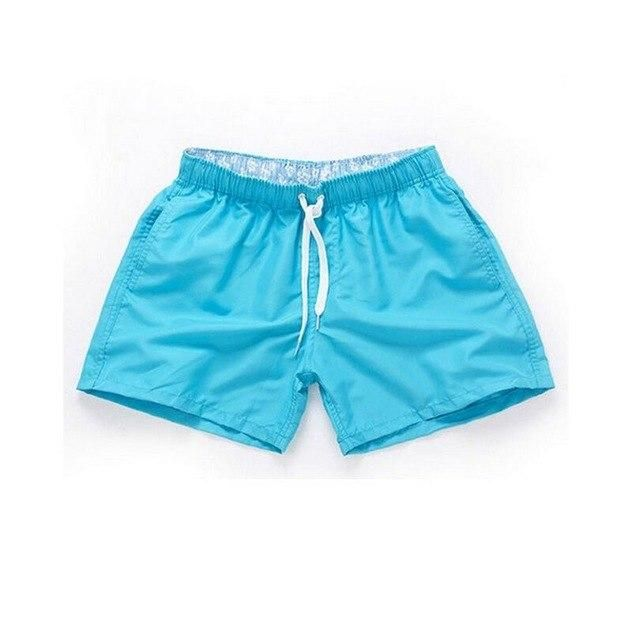 Visnxgi Men Summer Casual Shorts Men Fit Solid 16 Color Available Shorts Loose Elastic Waist Breathable Beach Shorts Q196 Sky bl