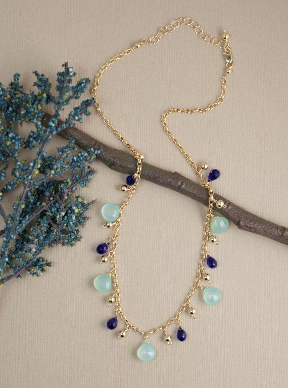 Aqua Chalcedony Necklace in Gold Fill Multi gemstone handcrafted jewelry by BlueRoomGems, $128.00