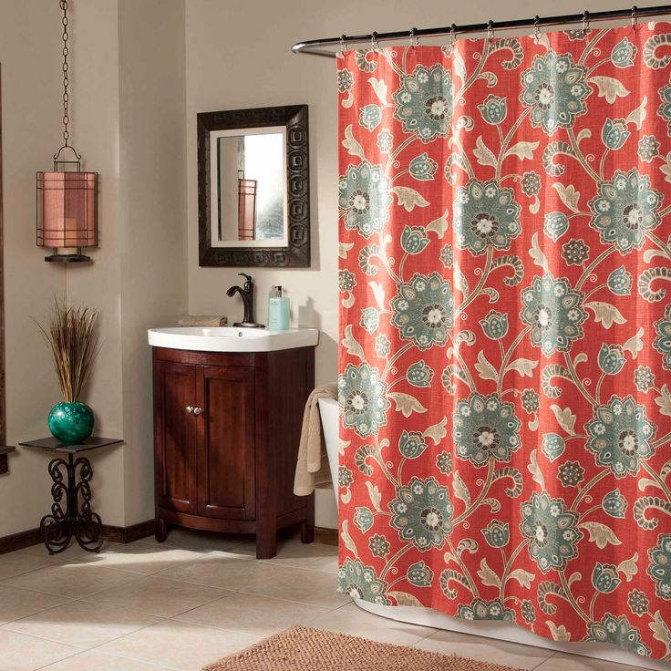 Featuring A Modern Take On Traditional Jacobean Pattern This Fabric Shower Curtain Updates Your Bathroom