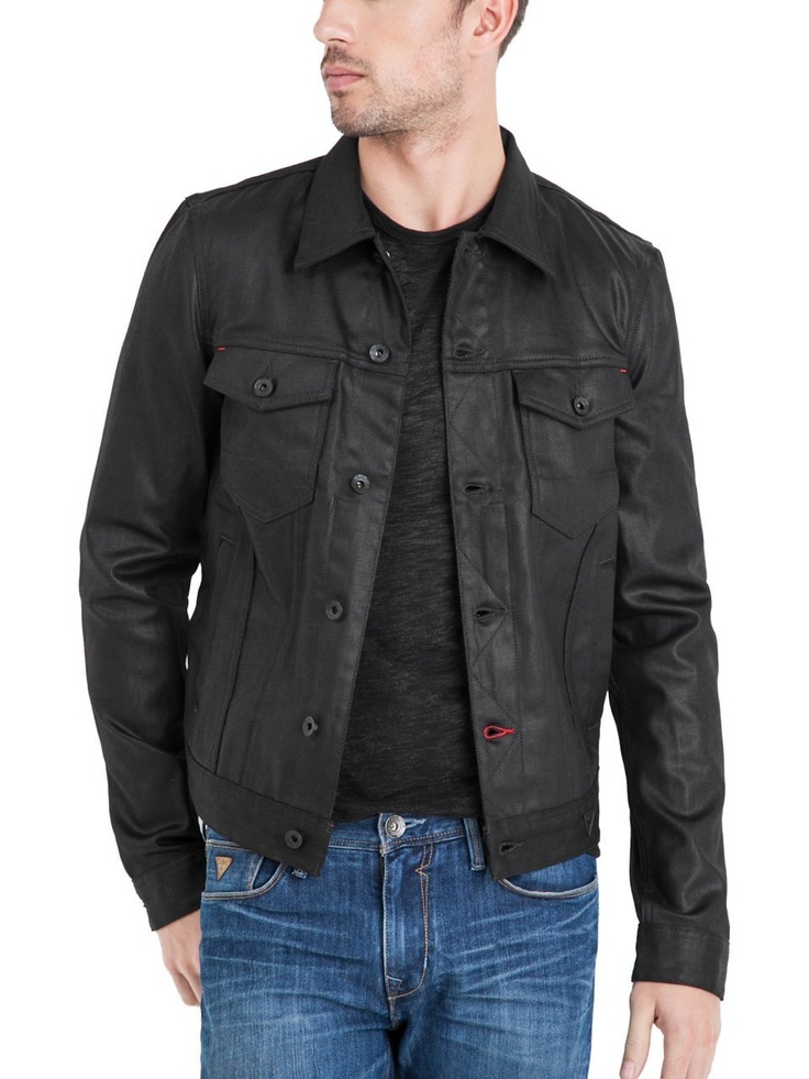 #GUESS Magnet #Denim #Jacket - $148  Constructed with European medium-weight coated denim that has a slight stretch, this sleek black jacket gives you style points whether you dress it up or down. It's finished with a rinse to get a clean look and softened feel. Denim jacket. Collar. Long sleeves with single button cuffs. Two flap patch pockets. Two slanted welt pockets. Matte black buttons. Button front closures 99% Cotton, 1% Lycra Machine wash Men