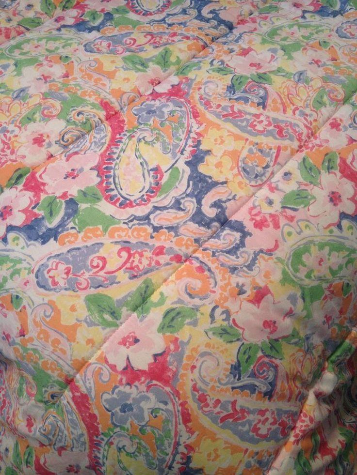 RALPH LAUREN SPRINGDALE Pink Paisley Floral Full Queen Bed Comforter Bedspread #RalphLauren #Springdale