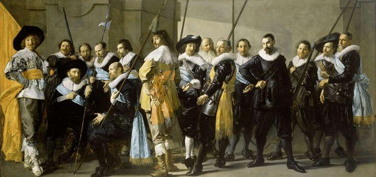 Officieren en andere schutters van wijk XI in Amsterdam onder leiding van kapitein Reijnier Reael en luitenant Cornelis Michielsz Blaeuw, bekend als De magere compagnie, Frans Hals, 1637