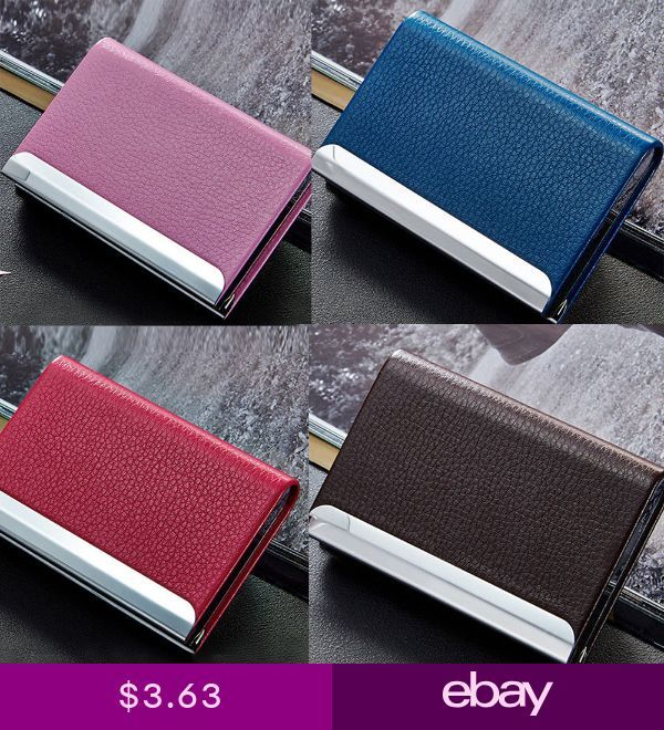 PU Leather Business Credit Card Name Id Card Holder Case Wallet Box Aluminum