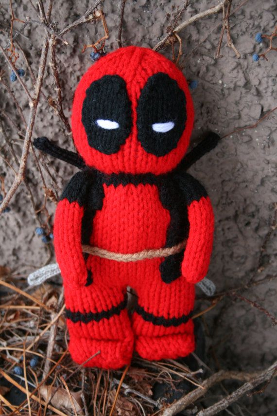 Deadpool Hand Knit soft stuffed toy doll  super hero by forthetiny, $15.99