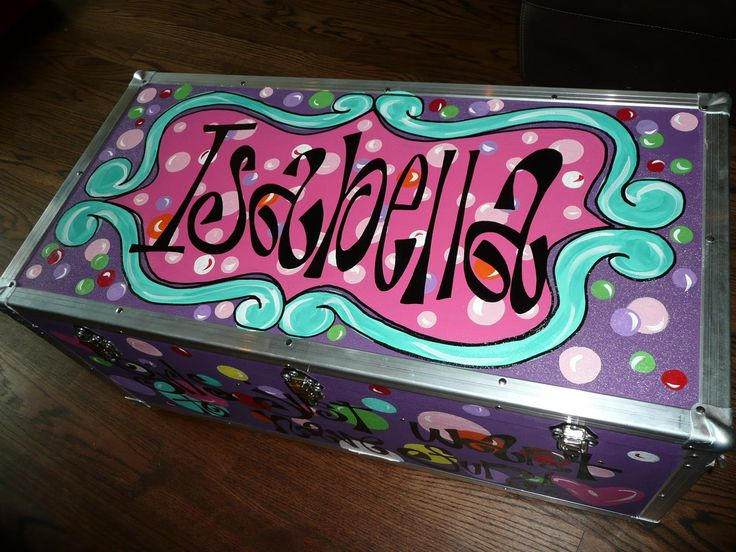Custom Summer Camp Trunks copyright and hand painted by Alexandra ogletree Belt. Of Silly Silly Girls.com