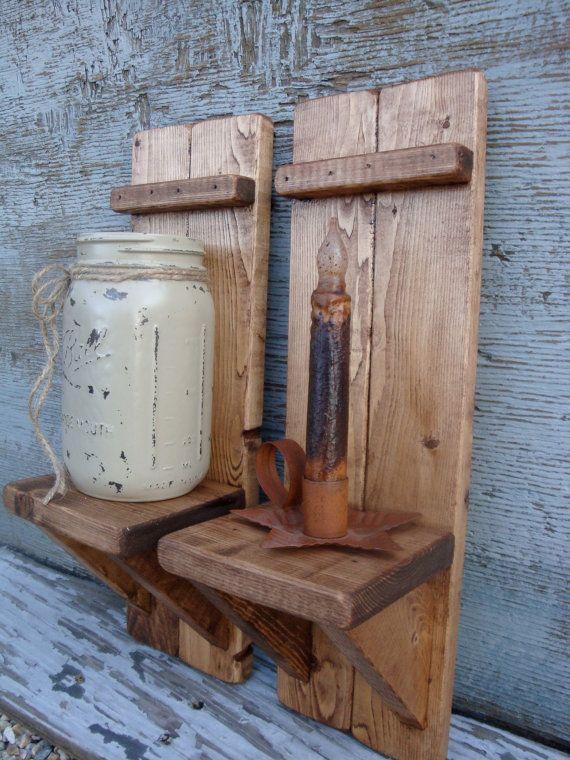 Set of 2 Rustic Primitive Wood Candle Mason Jar Sconce Shelf by TheUnpolishedBarn, $34.99