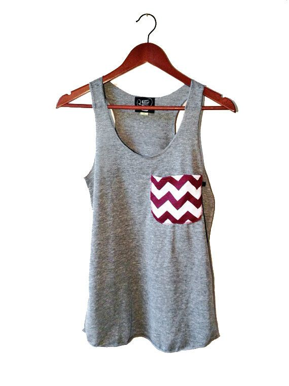 Maroon and White Chevron Pocket Tank in Heather Gray Available in S-M-L-XL School Colors on Etsy, $23.00