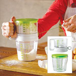 """Product # 60534 - A new spin on an old standby! Faster and easier than standard sifters. Aerate flour to give it more volume or sift to combine spices. Swift Sift creates a uniform flour texture. When you're finished, it collapses for easy storage. Measures up to 3 cups. Dishwasher safe. 8""""H x 4-1/2""""Diam."""