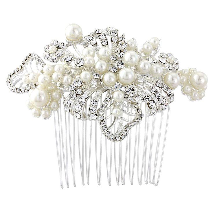 Angeline Leaf Pearl Wedding Comb - Bridal Jewellery - Crystal Bridal Accessories