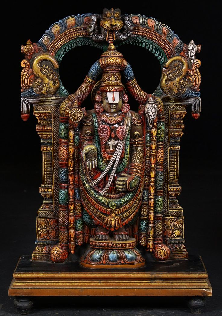 """View the SOLD Colorful Wooden Sculpture of Balaji with Arch 30"""" at Hindu Gods & Buddha Statues"""