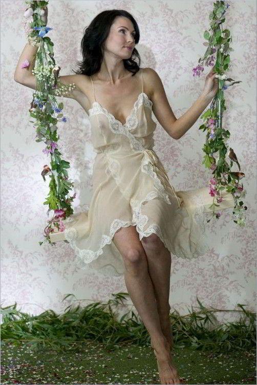Short Silk Chiffon Nightie - Jane Woolrich 3371