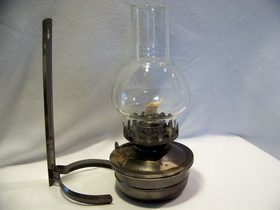 Wall Mounted Hurricane Lamps : Vintage Oil Lamp with Wall Mount and Hurricane Shade