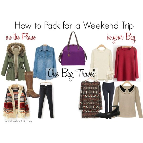 "One Bag Travel: How to Pack for a Weekend Trip shows what to wear ""one the plane"" and the items that go ""in your bag"" inspired by TFG's Thanksgiving Packing List"