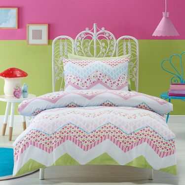 Kids House Marquise Quilt Cover Set Pink Spotlight New