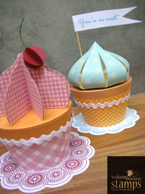 "so fun :) they're decorated ""hat boxes"" (I've seen them all over....just kraft paper cylindar boxes with lids. not necessarily HAT BOXES) :::::::Waltzingmouse Makes...: ...May new Stamps - Dainty Doilies"