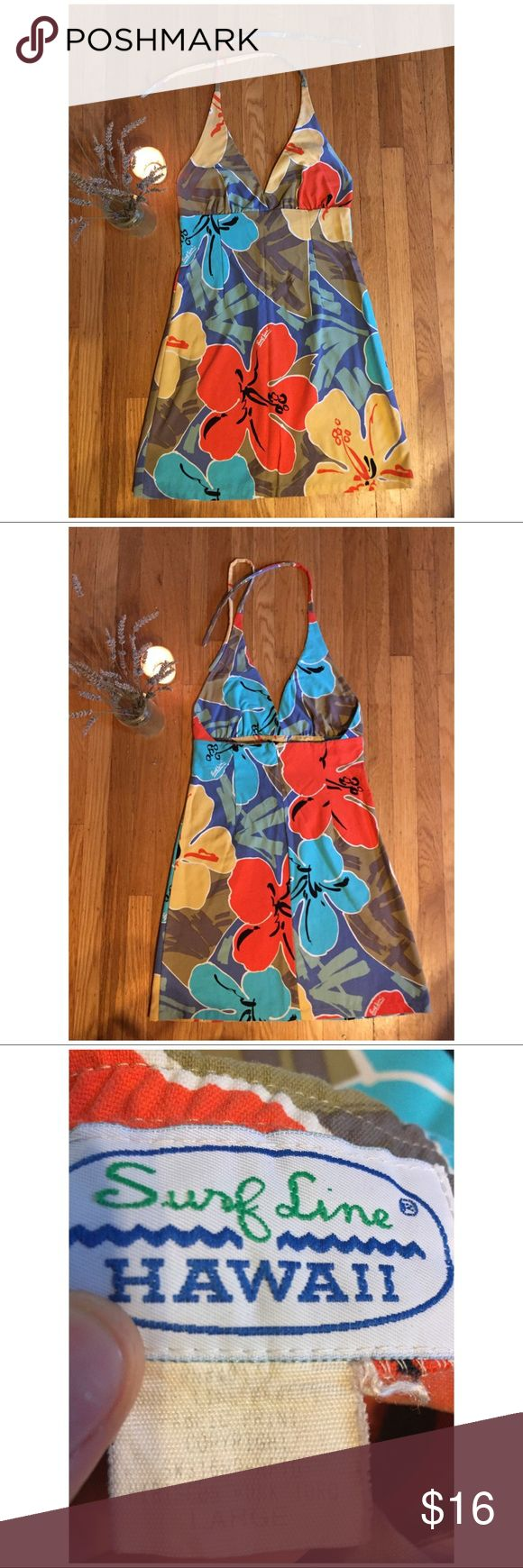 """Surf Line Hawaii halter dress, flower print. Overall length from top of shoulder approx 34.5"""". Flat lay empire waist approx 14.5"""". Hook clasp closure at top of zipper back shown in 4th photo. Surf Line Dresses Mini"""