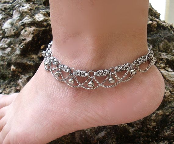 1970s Vintage Styled Chainmail Anklet by RingedDesigns on Etsy