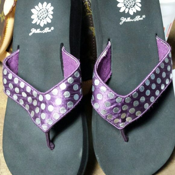 Yellow Box flip flops size 5 Purple and silver yellow box flip flops.  Barely worn. Yellow Box Shoes