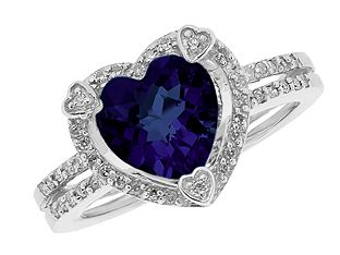 September Birthstone Checkerboard Blue Sapphire Heart Silver Ring Available Exclusively at Gemologica.co.... I want!!!