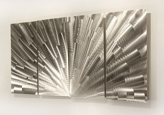 Metal Wall Art Large Artwork Silver Painting In Mexican Metal Yard Art