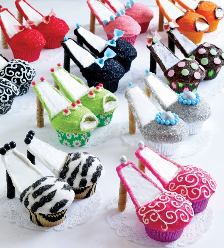 High heel shoe cupcakes - use round wafer twists for the stilettos and base shoe pattern on cupcake paper design.