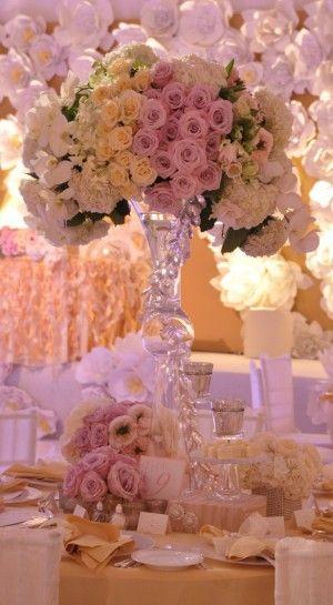 Low Blush Wedding Centerpiece