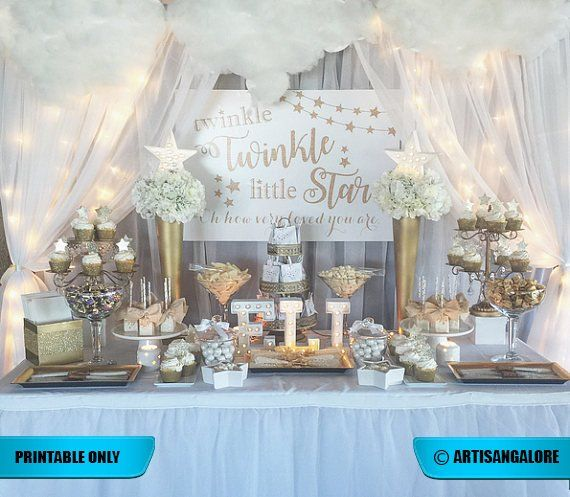 Twinkle Twinkle Little Star Backdrop, Gold Pink, Aqua, Gender Reveal Sign, First Birthday Backdrop, Baby Shower Backdrop, printable