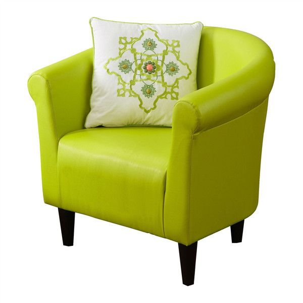 Hearts Attic Yellow Green Faux Leather Contemporary Living Room Barrel 221 Liked On Polyvore Featuring Home Furniture Chairs Accent