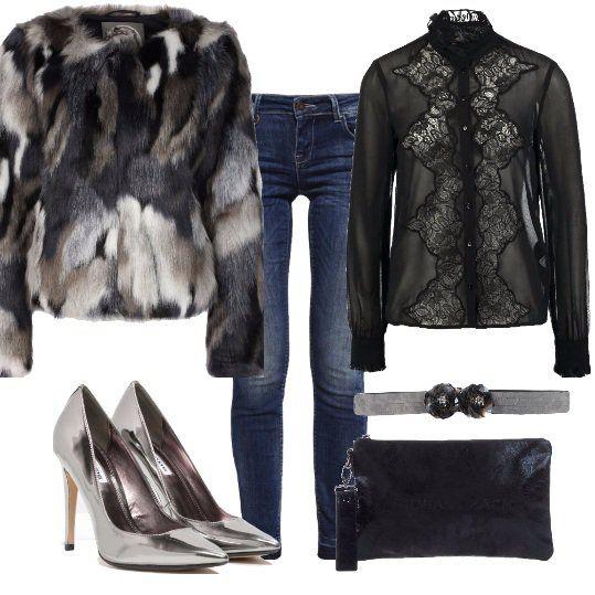 Meravigliosa+giacca+patchwork+per+un+sabato+sera+sexy,+abbinata+a+jeans+skinny+e+a+deliziosa+camicia+con+inserto+e+forte+trasparenza.+Completo+l'outfit+con+meravigliose+décolleté+pewter+metallic,+clutch+nera+e+cintura+in+paillettes+grigio+chiaro.