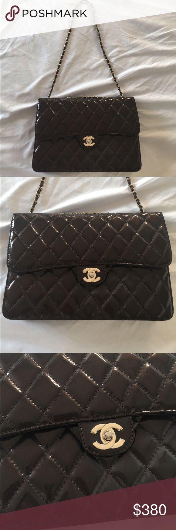 Vintage Chanel bag Quilted brown patent leather Chanel purse in gently used vintage condition. I purchased in vintage store in upper east nyc. It has authentic sticker but not sure it is authentic. I purchased about 10years agao. It is used but only light wear inside. CHANEL Bags Shoulder Bags