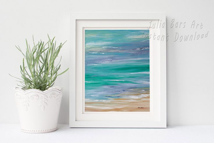 Printable wall art, Abstract coastal painting in blue and turquoise by Julia Bars.