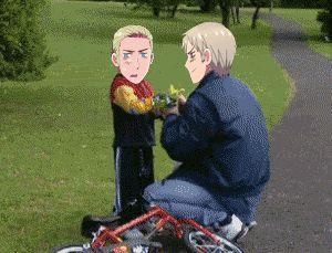 hetalia funny gifs | Prussia helps Germany his bike! - Hetalia Photo (35736678) - Fanpop ...