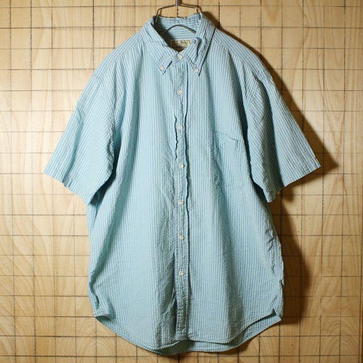 L.L.Bean/エルエルビーン/古着/ライトグリーン×パープルストライプサッカー生地コットン100%ボタンダウン半袖シャツ/メンズS