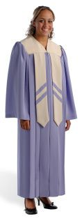 "Tailoring features for the OVERTURE ROBE include:   Gathered yoke with ""V"" neckline Open sleeves Contrasting yoke Two contrasting banners with double fabric chevrons Optional embroidery placement: Yoke and front hanging banners - your choir will love it!"