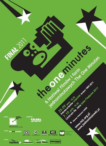 """Plakat promujący 6. edycję Festiwalu Filmów i Form Jednominutowych """"The One MInutes"""". www.jednominutowki.pl"""