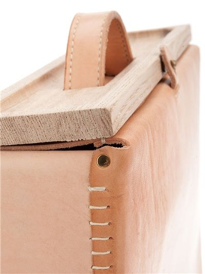 Inspiration...Natural vegetable tanned leather briefcase. Perfect match with wood