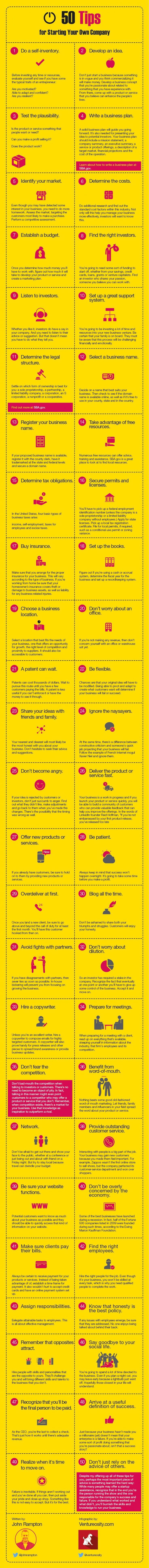 What Are 50 Startup Tips For Starting Your Own Business? #infographic