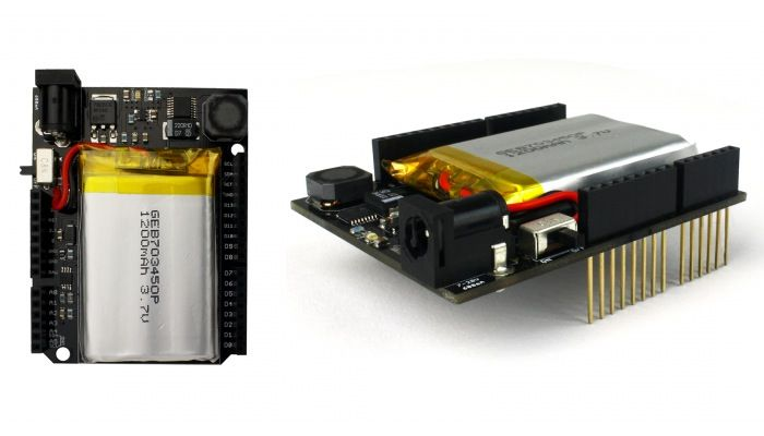 The energyshield arduino rechargeable battery has been