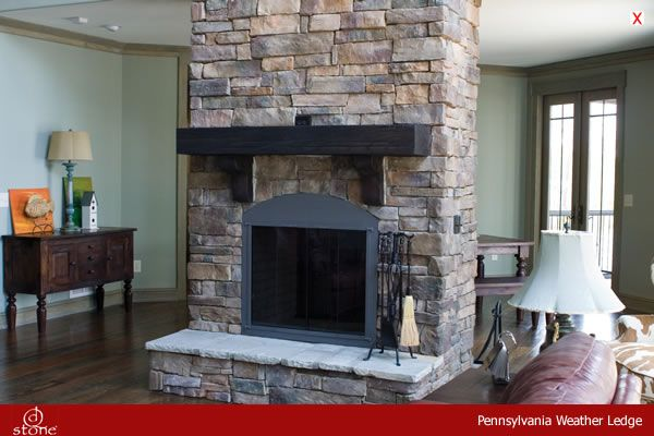 Dutch Quality Stone: Pennsylvania Weather Ledge Fireplace with Raised Hearth Category: Interior Masonry, Fireplace Mantle