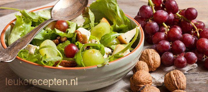 salade met druiven en pecanoten