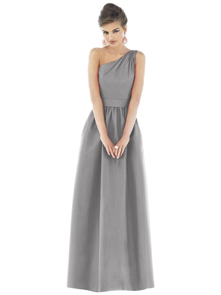 Choose Alfred Sung D529 gray bridesmaid dress in Dupioni silk for an amazing bridal party.