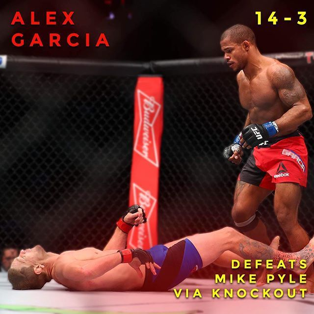 Oh my  Alex Garcia viciously knocks out Mike Pyle. Do you think this is knockout of the year? : Mark J. Rebilas of USA TODAY @alexgarciamma #MMA #UFC #UFC207 #knockout #rondarousey #alexgarcia #mikepyle #fighting #infographic #tmobilearena #lasvegas #nevada #boxing #bjj #octagon