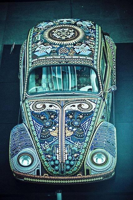 Mosaic Car - I wonder how many hours it took to do the painstaking work.