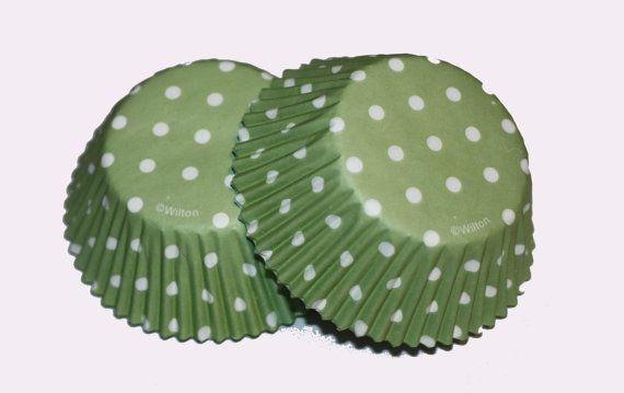 24 Wilton Sage Green Polka Dot Cupcake Liners Cupcake