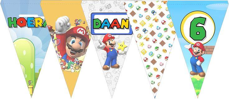 Vlaggenlijn Super Mario, met naam en eventueel leeftijd. Een unieke slinger voor de verjaardag van uw kind, gemaakt door Slingerland